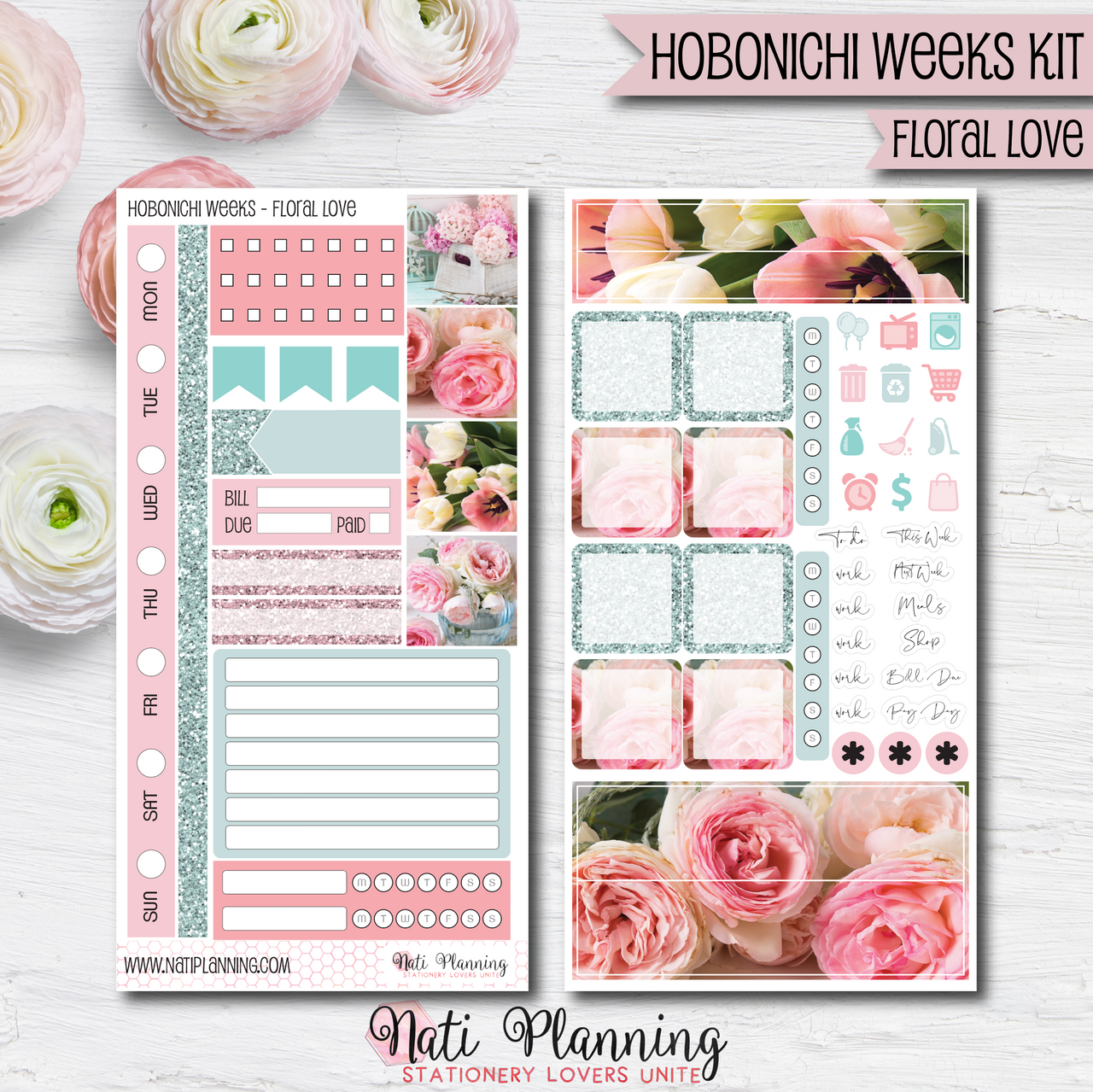 Floral Love - HOBONICHI WEEKS Sticker Kit