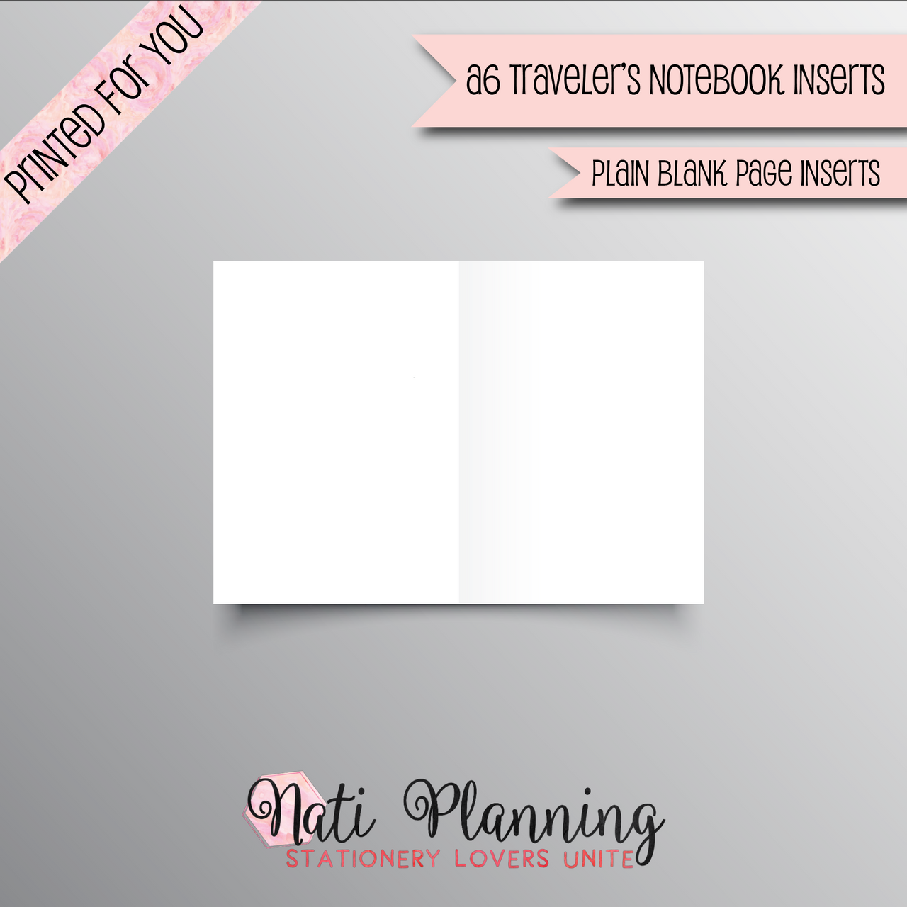 Plain Blank Page TN - A6 NO.3 SIZE INSERTS