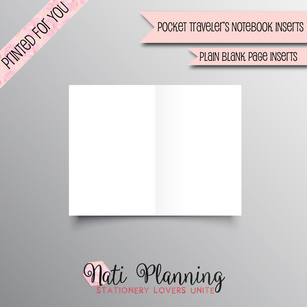 Plain Blank Page TN - POCKET NO.2 SIZE INSERTS