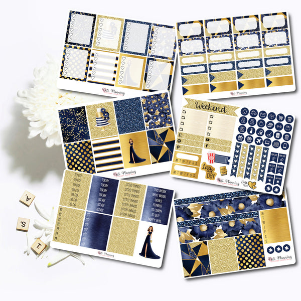 Midnight Navy and Gold - INDIVIDUAL Sticker Sheets