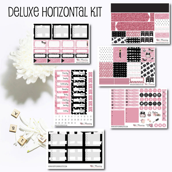 Pink Glamour Puss - Weekly HORIZONTAL Sticker Kit