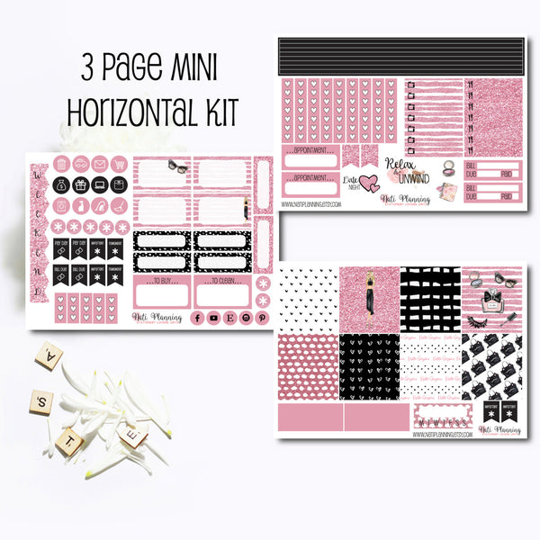 Pink Glamour Puss - Weekly MINI HORIZONTAL Sticker Kit