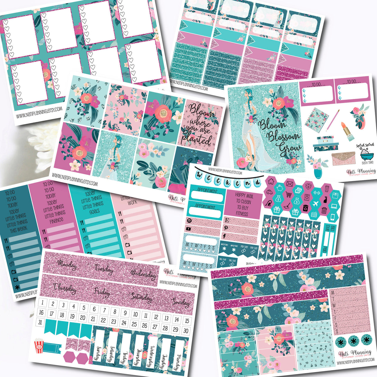 Blissful Blooms - INDIVIDUAL Sticker Sheets