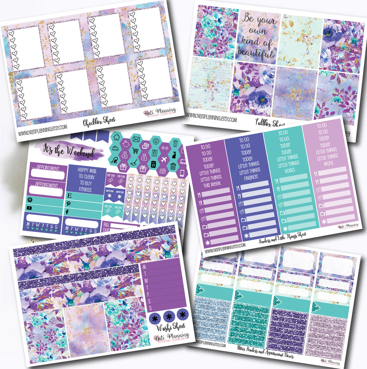 Purple Haze - Weekly VERTICAL Sticker Kit