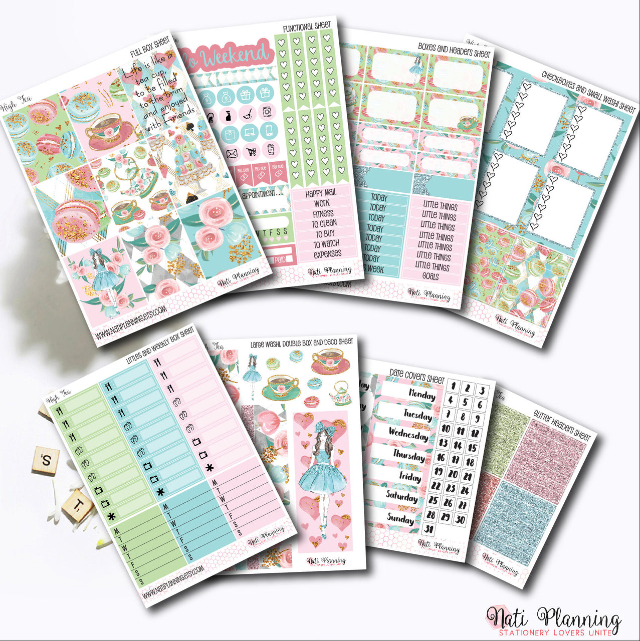 High Tea - Weekly VERTICAL Sticker Kit