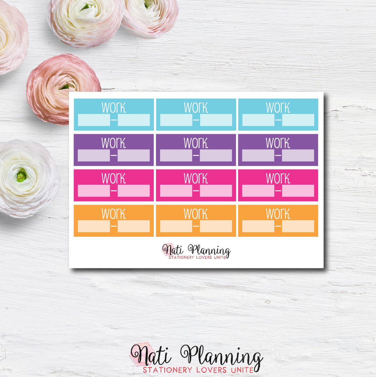 Work Planner Stickers - Multicoloured