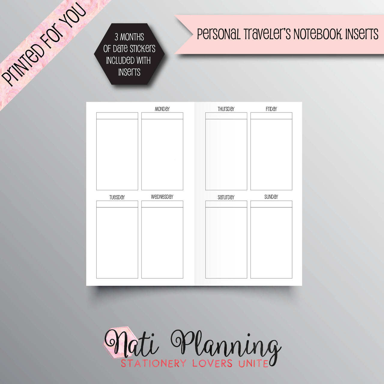 VERTICAL Printed Personal Travelers Notebook Inserts | EC Style TN Inserts | Foxy Fix #4 Inserts | Chic Sparrow | Planner Inserts | WO2P