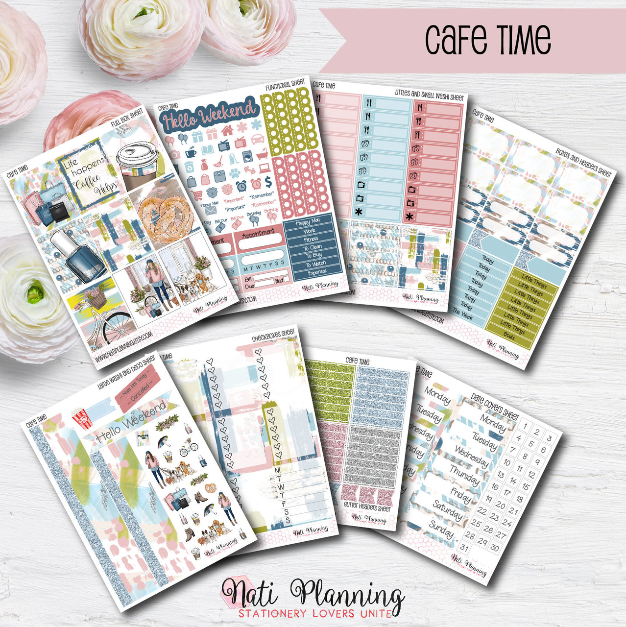 Cafe Time - Weekly VERTICAL Sticker Kit