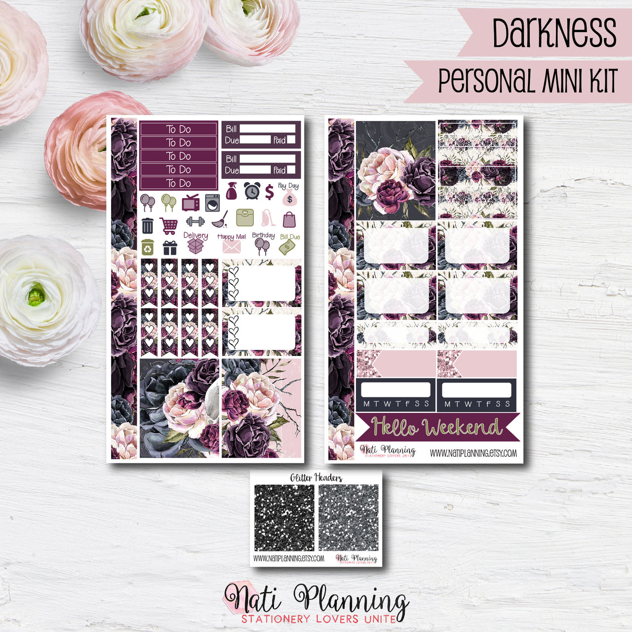 Darkness - Weekly PERSONAL MINI Sticker Kit