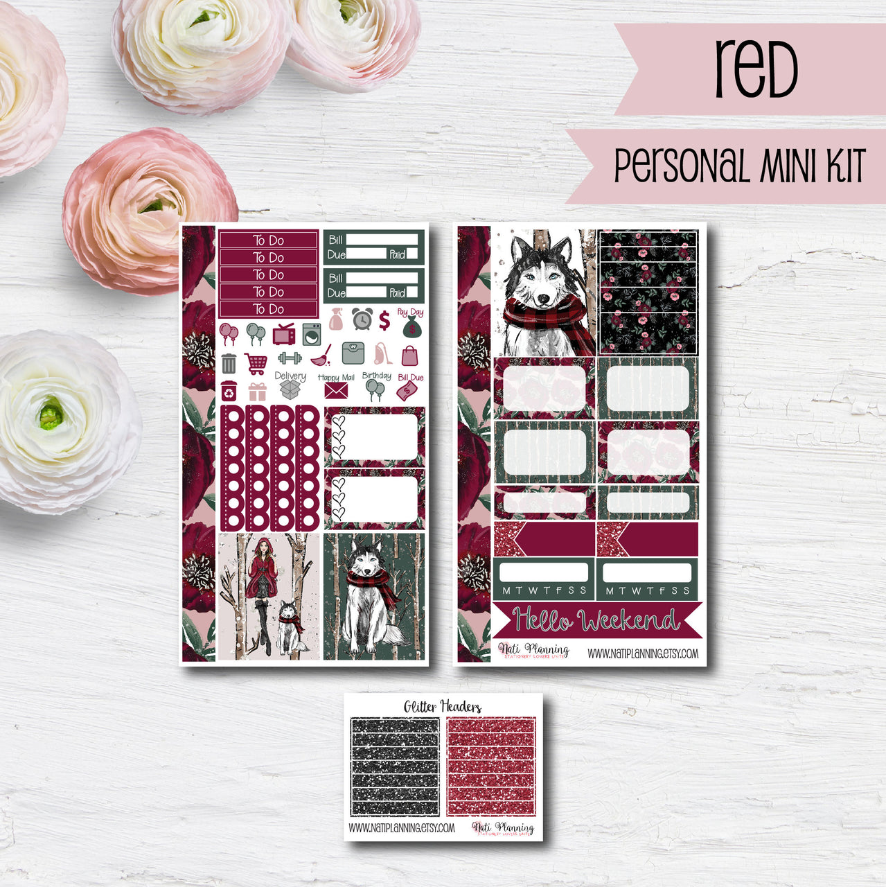 Little Red Riding Hood - Weekly PERSONAL MINI Sticker Kit
