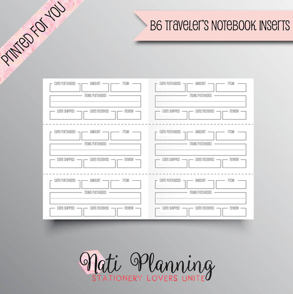 SHOPPING TRACKER Printed B6 Travelers Notebook Inserts | Online Shopping Tracker Inserts | TN Inserts | Foxy Fix Inserts  | Purchase Tracker