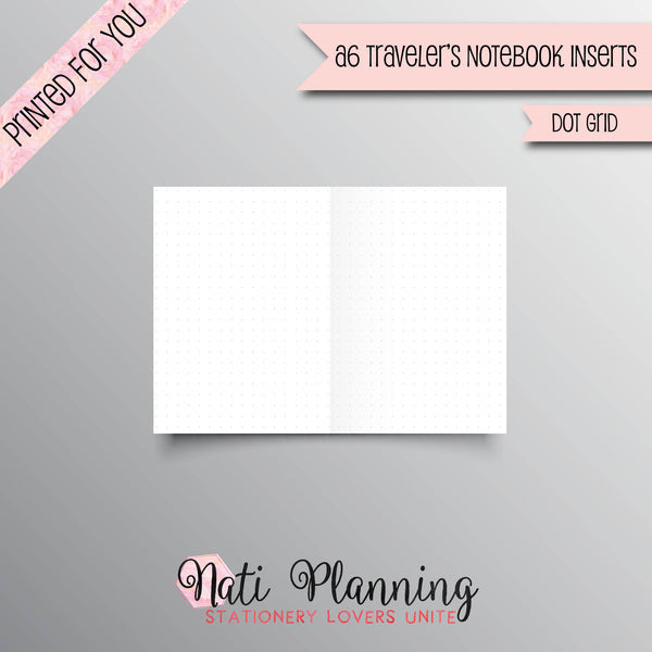 DOT GRID Printed A6 Travelers Notebook Inserts | TN Dot Grid Inserts | Foxy Fix No 3 Inserts | Bullet Journal | Travellers Notebook | Insert