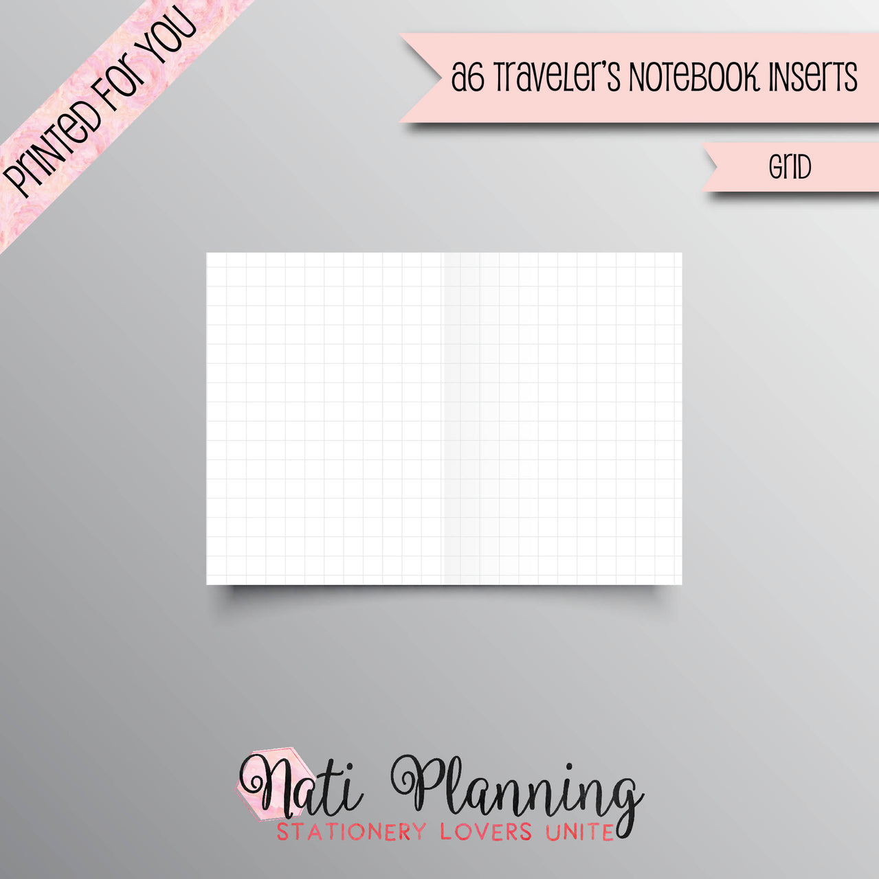 GRID PRINTED A6 Travelers Notebook Inserts | TN Grid Inserts | Foxy Fix No 3 | Bullet Journal | Planner Inserts | Travellers Notebook |