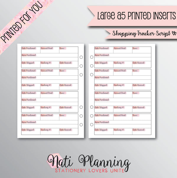 SHOPPING TRACKER Printed Planner Inserts | A5 Planner Inserts | Purchase Tracker Planner Inserts | Kikki K Inserts | A5 Inserts | Script