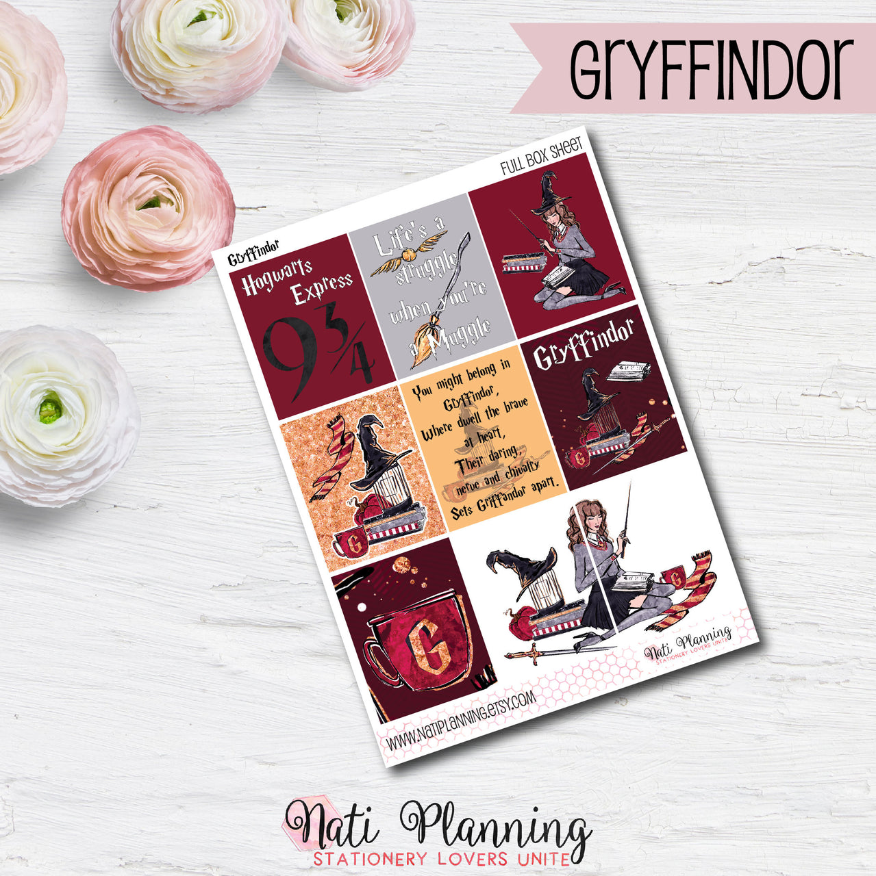 Gryffindor Red Wizardry - INDIVIDUAL Sticker Sheets