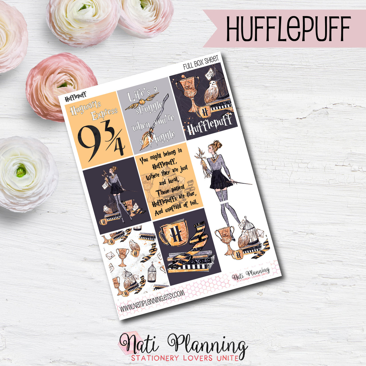 Hufflepuff Yellow Wizardry - Weekly VERTICAL Sticker Kit