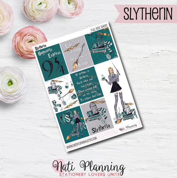 Slytherin Green Wizardry - INDIVIDUAL Sticker Sheets