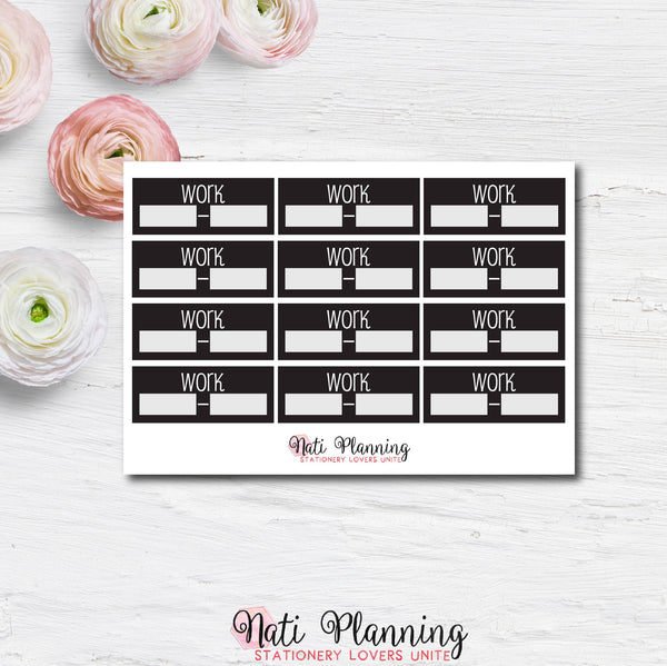 Work Planner Stickers - Black and White