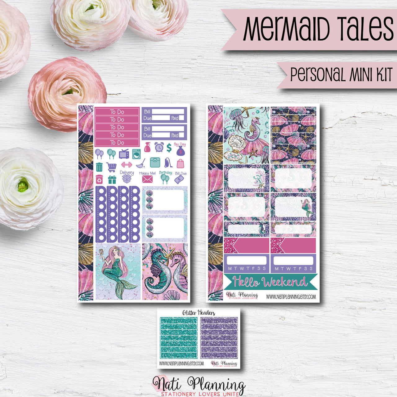 Mermaid Tales - Weekly PERSONAL MINI Sticker Kit