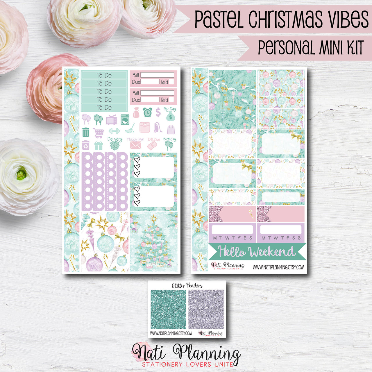 Pastel Christmas Vibes - Weekly PERSONAL MINI Sticker Kit