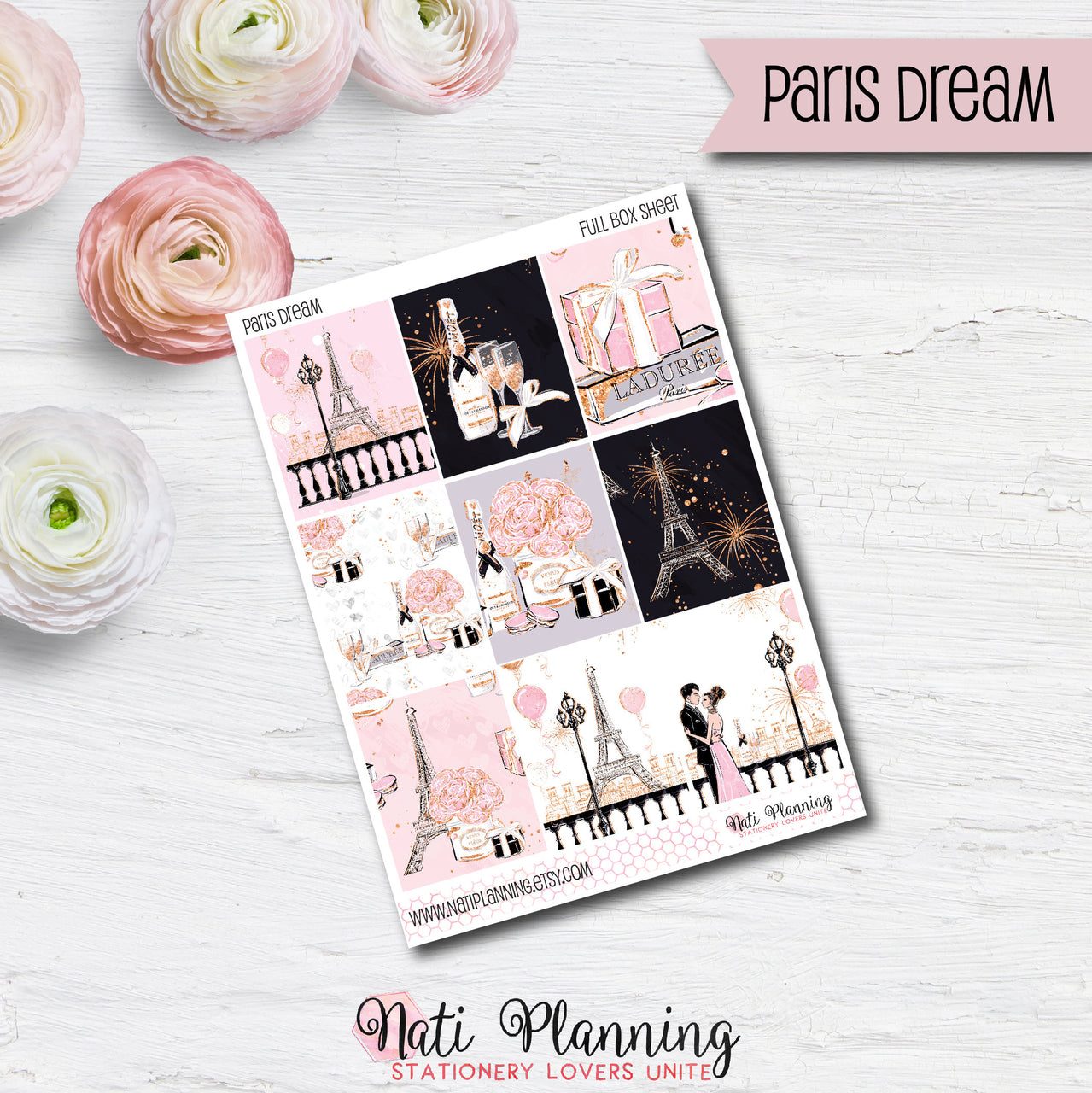 Paris Dream - Weekly VERTICAL Sticker Kit