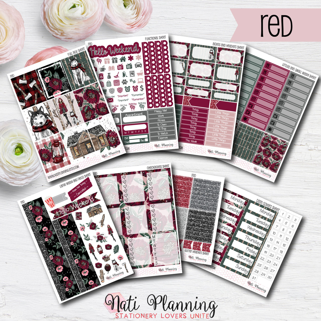 Little Red Riding Hood - Weekly VERTICAL Sticker Kit