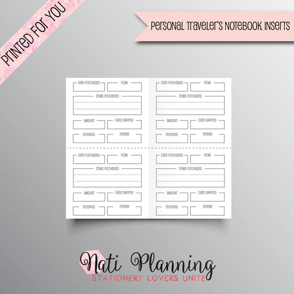 SHOPPING TRACKER Printed Personal Travelers Notebook Inserts | Online Shopping Tracker | TN Inserts | Foxy Fix Inserts | Purchase Tracker