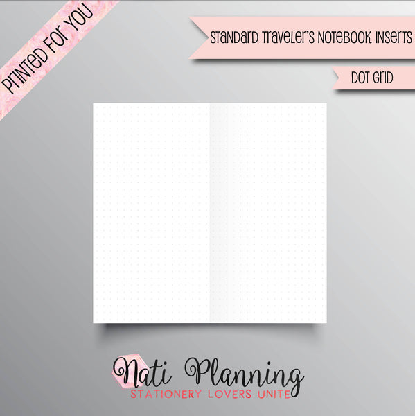 DOT GRID Printed Standard Travelers Notebook Inserts | Dot Grid TN Inserts | Foxy Fix 6 | Chic Sparrow | Planner Inserts | Bullet Journal |