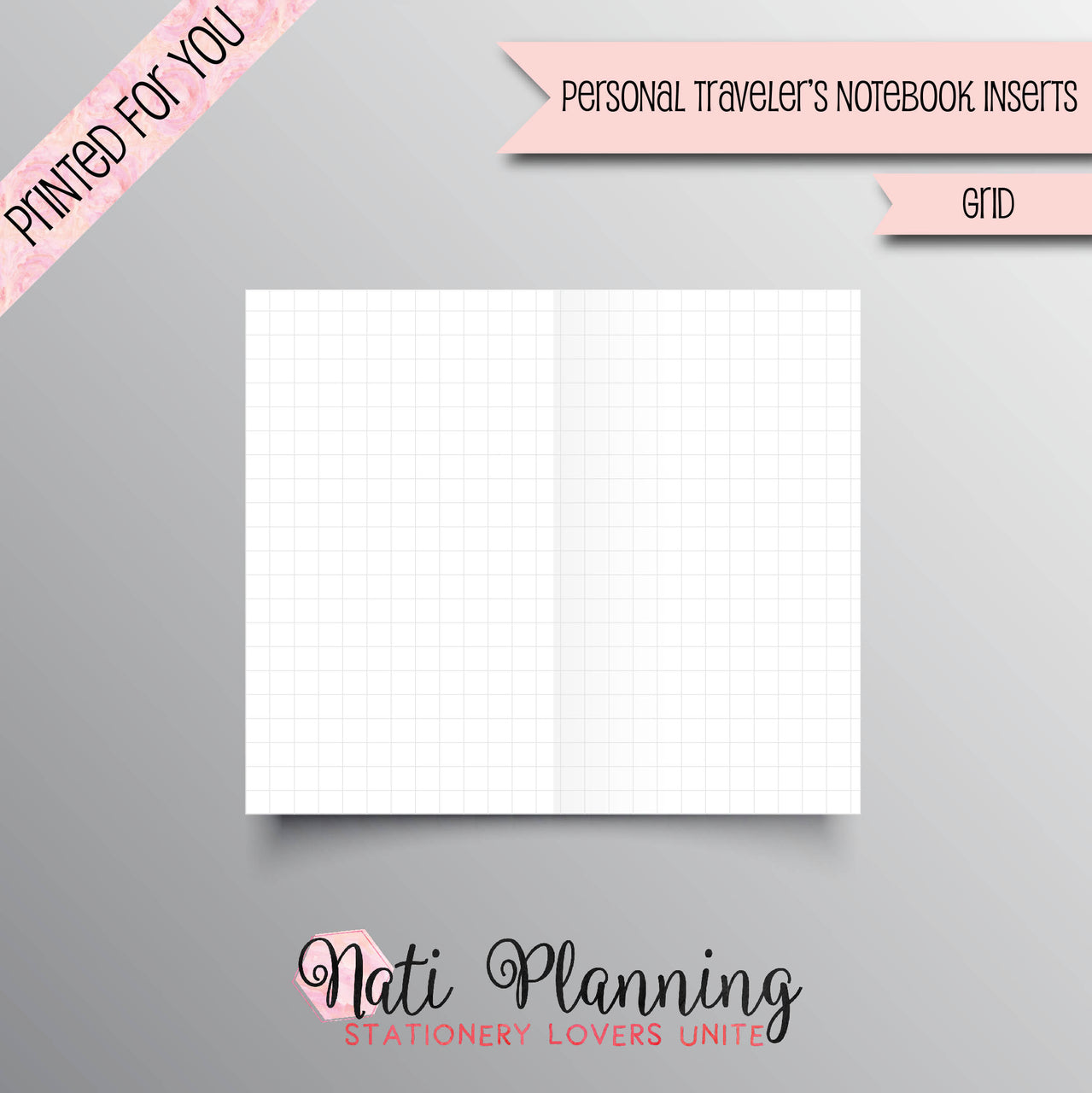 GRID PRINTED Personal Travelers Notebook Inserts | Grid TN Inserts | Foxy Fix Inserts | Bullet Journal | Travellers Notebook | Midori