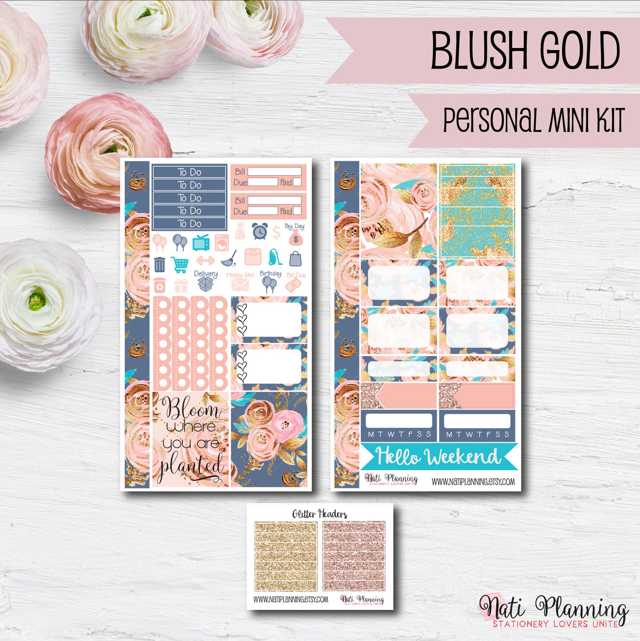 Blush Gold - Weekly PERSONAL MINI Sticker Kit