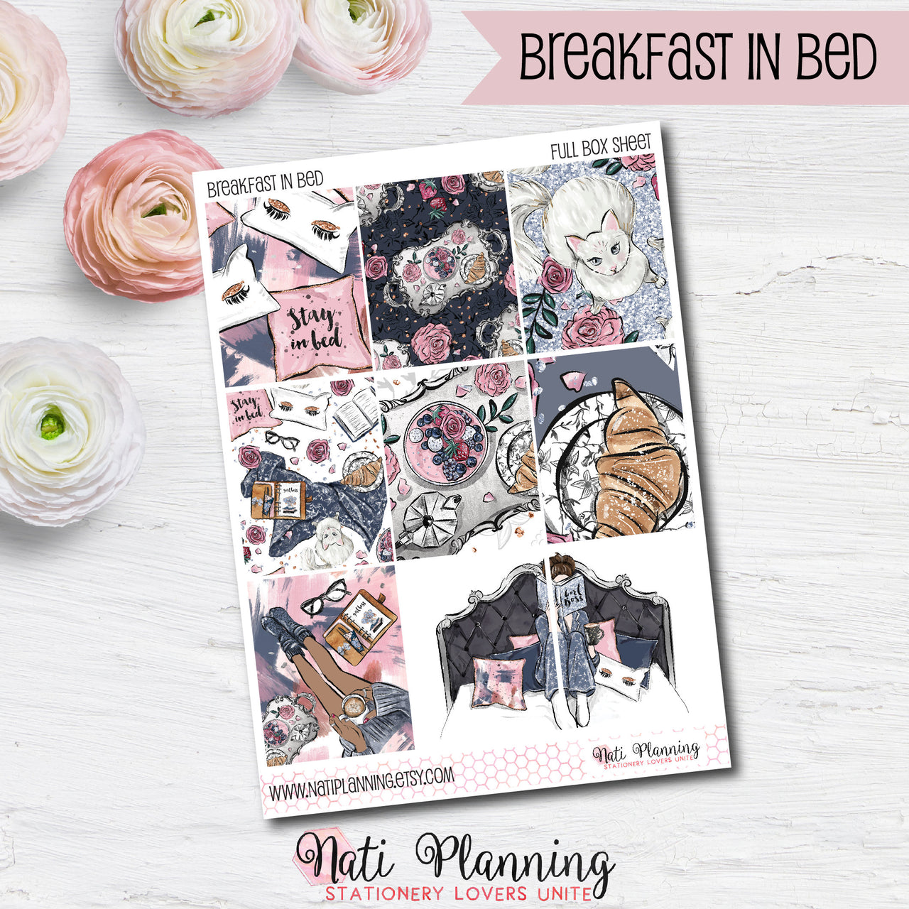 Breakfast in Bed - Weekly VERTICAL Sticker Kit