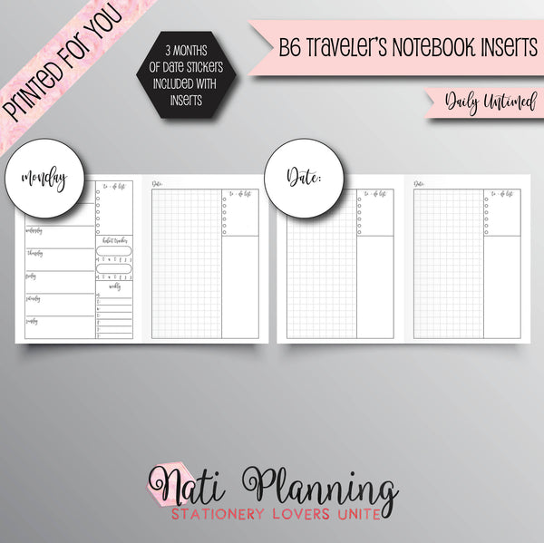 DAILY UNTIMED Grid Printed B6 Travelers Notebook Inserts | Daily TN Inserts | Foxy Fix Inserts | Planner | Travellers Notebook | Script