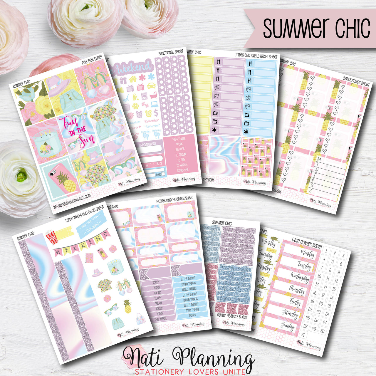Summer Chic - Weekly VERTICAL Sticker Kit
