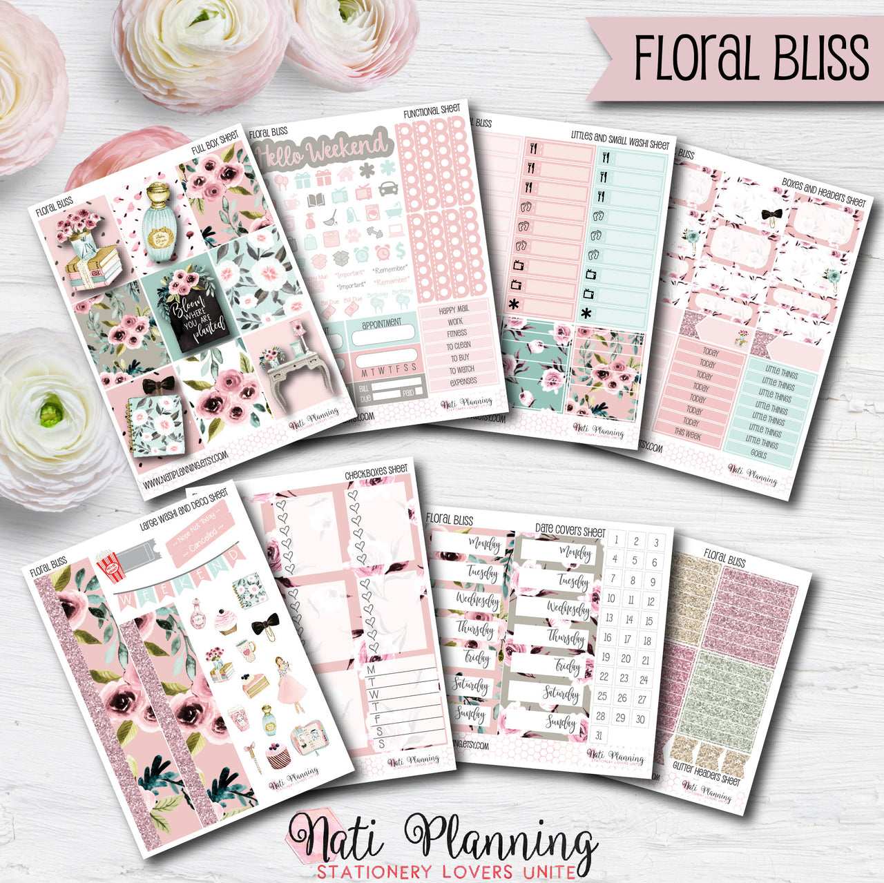 Floral Bliss - INDIVIDUAL Sticker Sheets