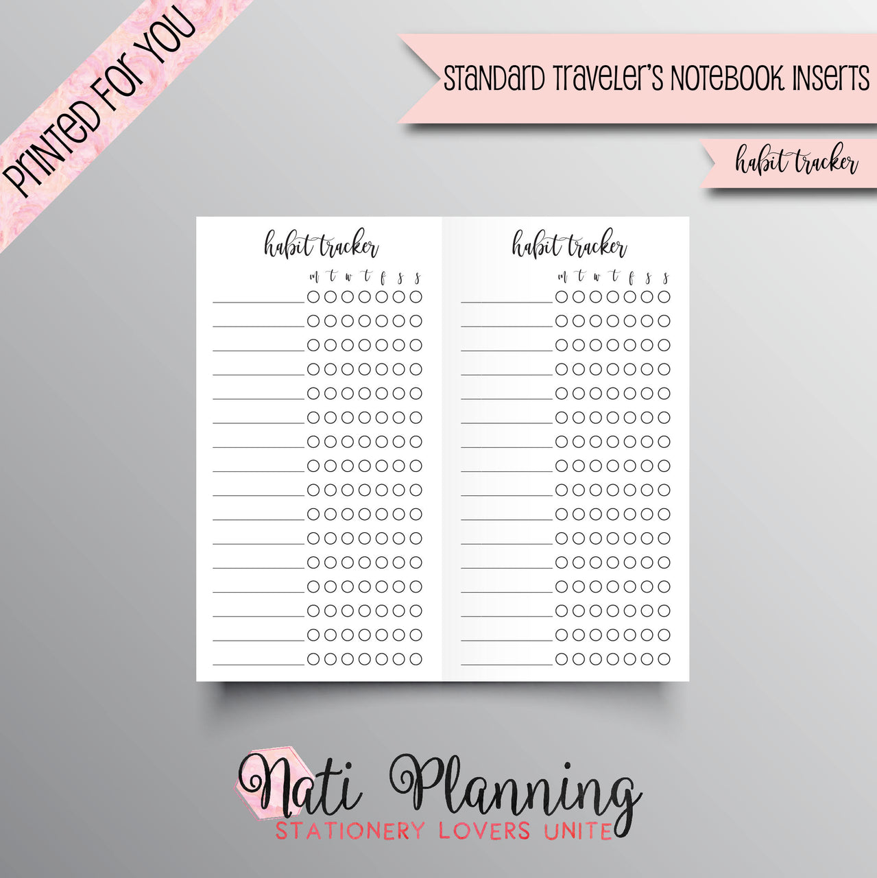 HABIT TRACKER Printed Standard Travelers Notebook Inserts | TN Inserts | Foxy Fix Insert | Chic Sparrow Inserts | Habit Tracker Inserts
