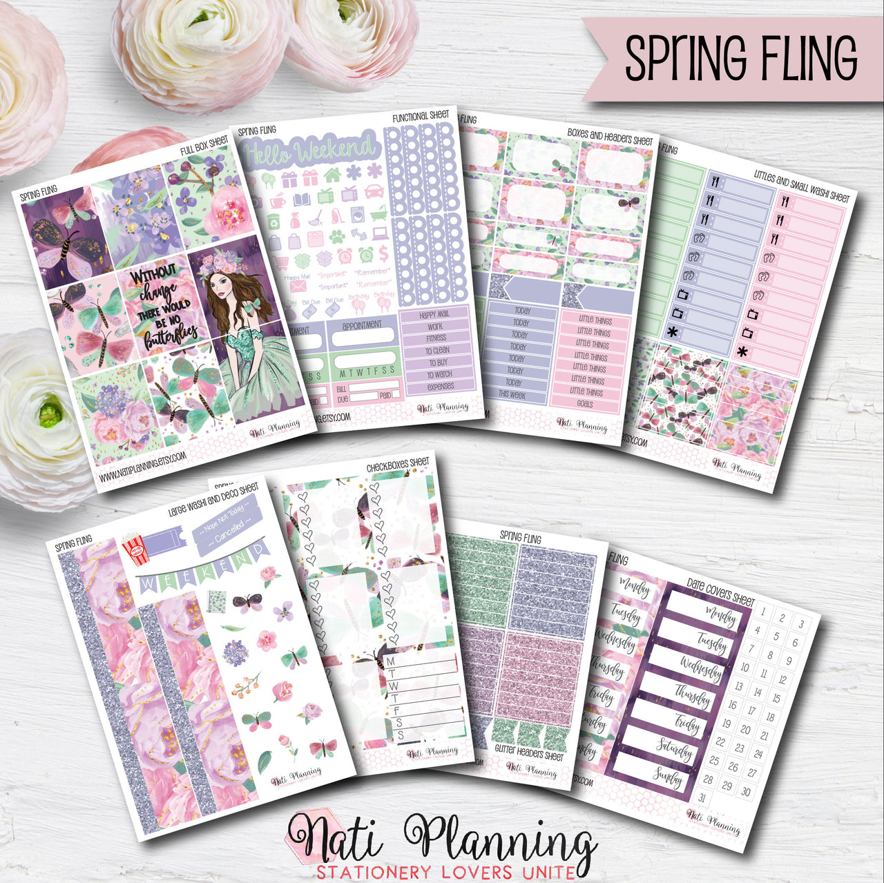 Spring Fling - Weekly VERTICAL Sticker Kit