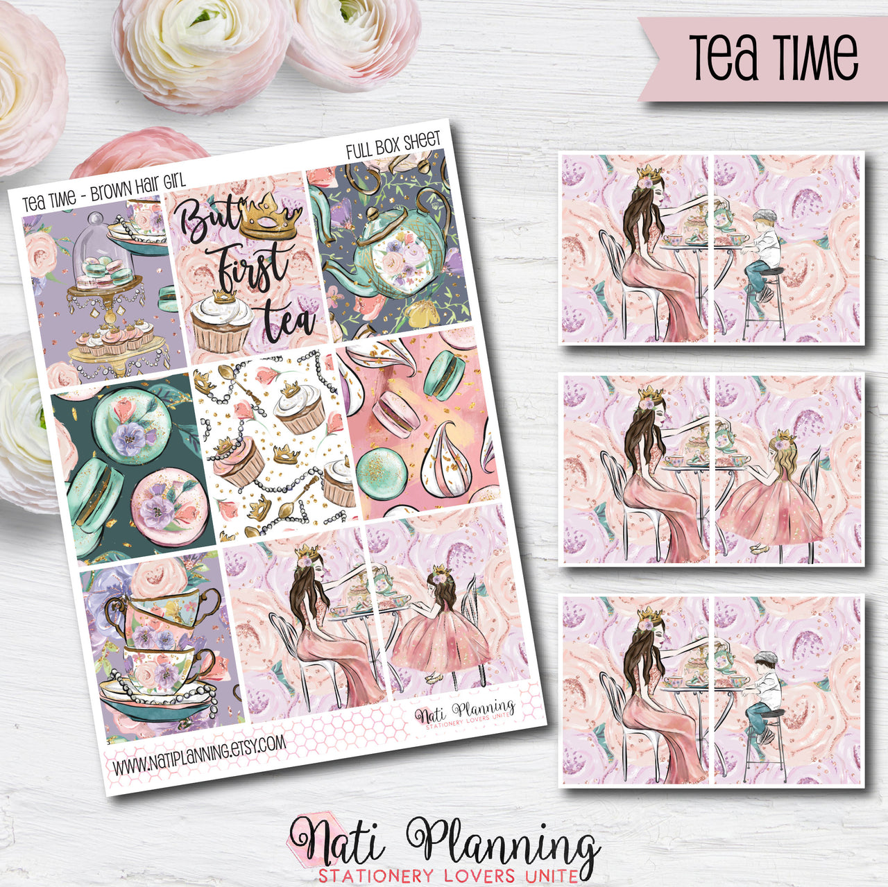 Tea Time - Weekly VERTICAL Sticker Kit