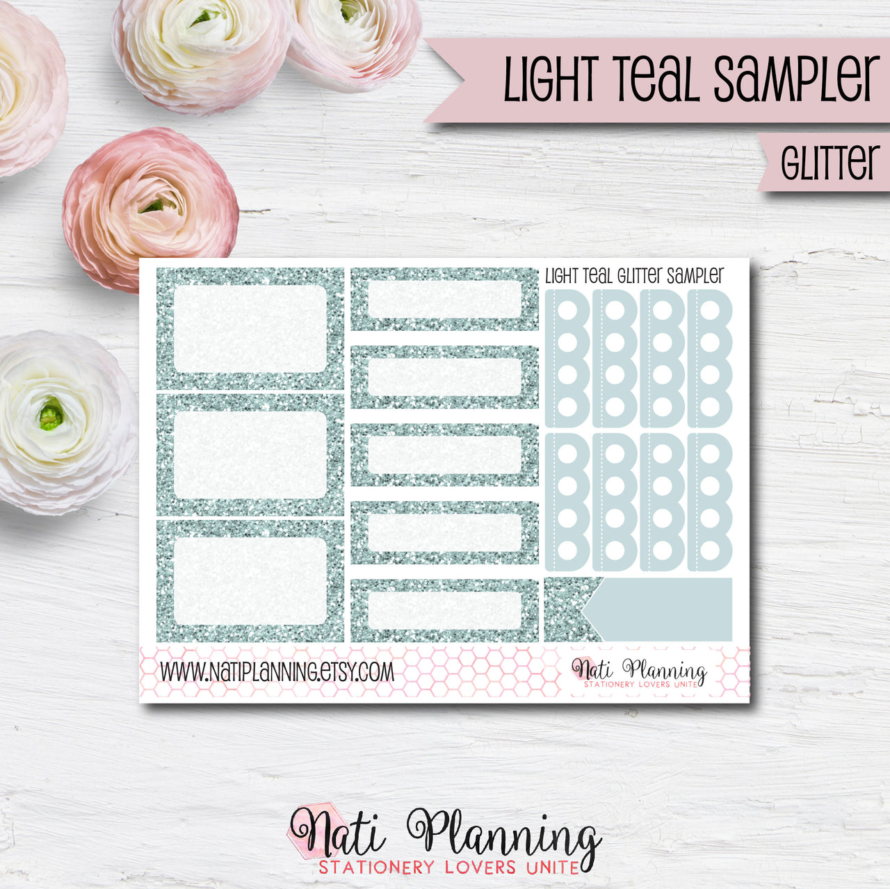 GLITTER SAMPLER - Light Teal