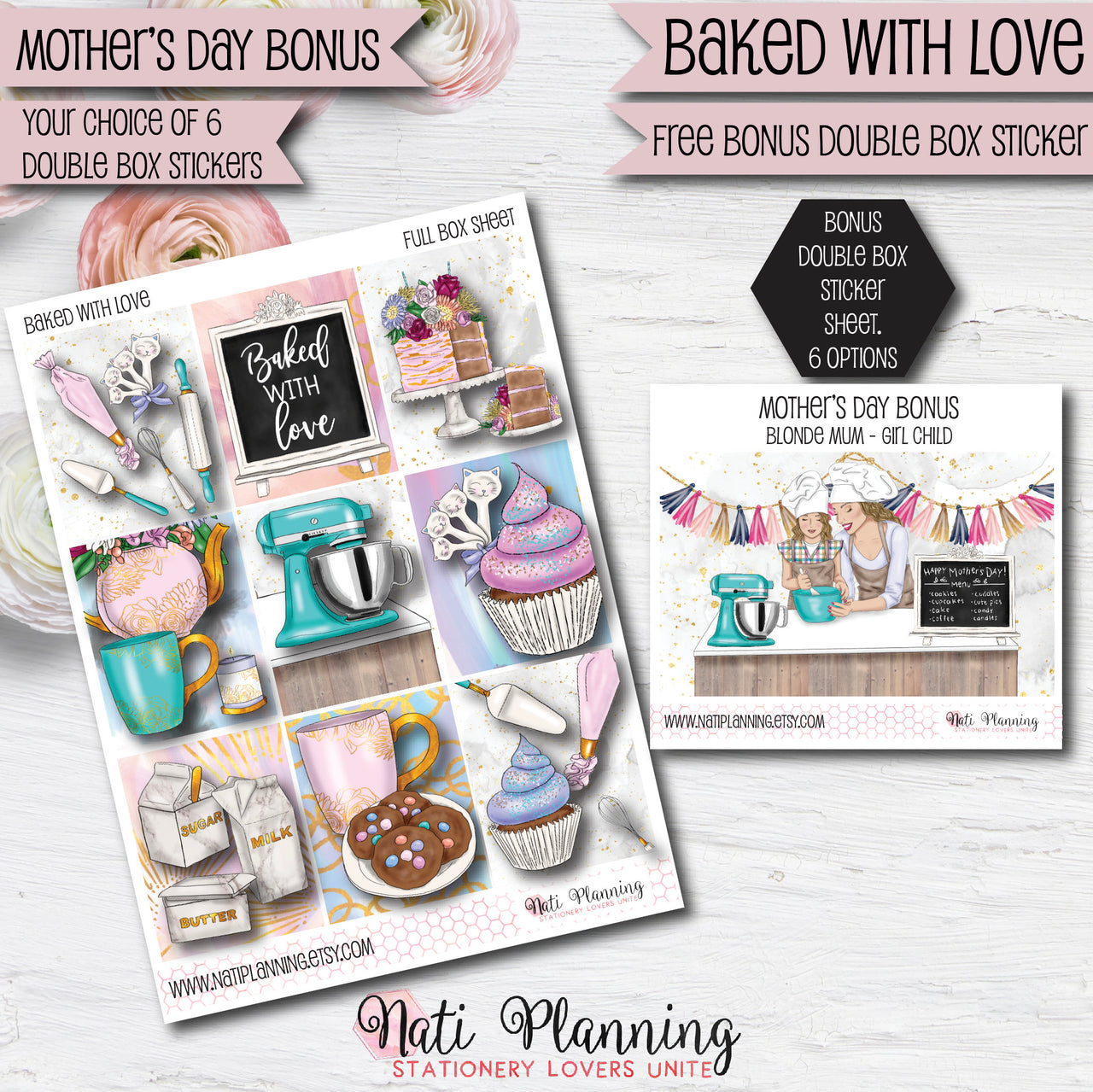 Baked With Love - Weekly VERTICAL Sticker Kit
