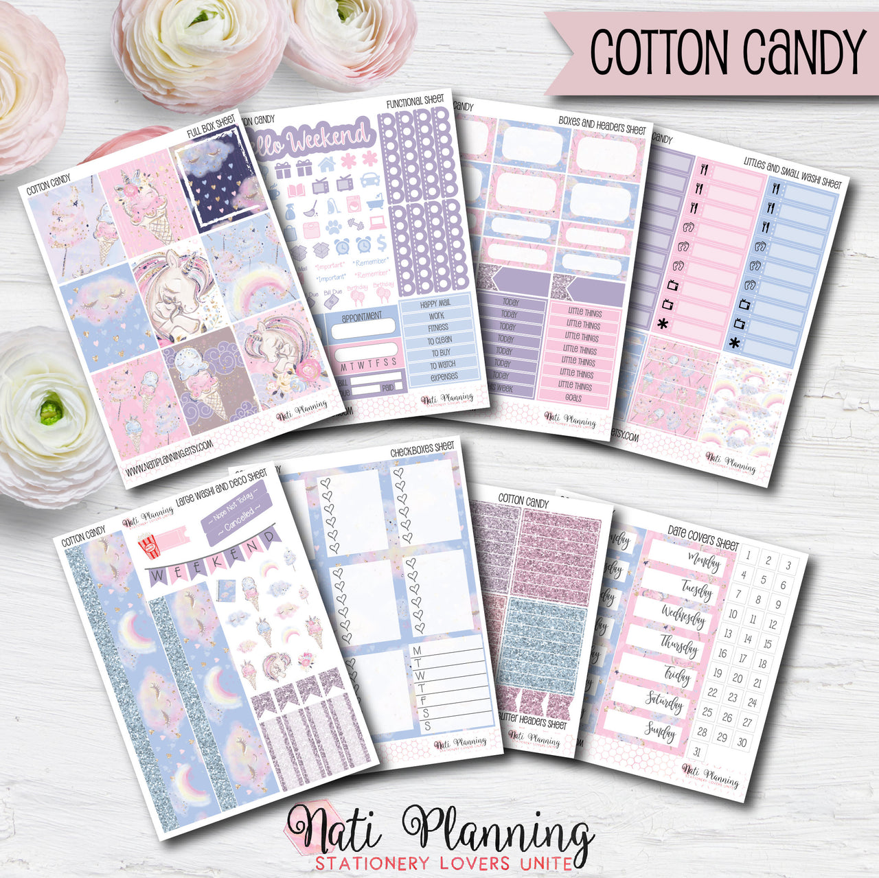 Cotton Candy - Weekly VERTICAL Sticker Kit