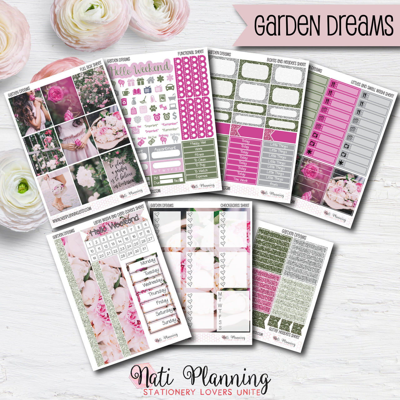 Garden Dreams - Weekly VERTICAL Sticker Kit