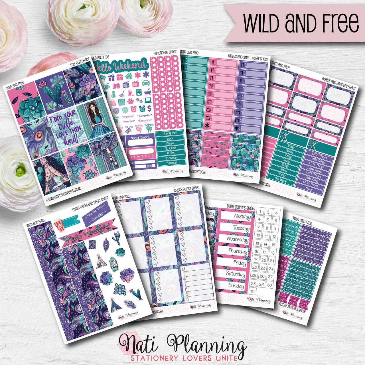 Wild and Free - INDIVIDUAL Sticker Sheets