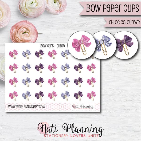 Bow Paper Clip Stickers - Chloe Colourway