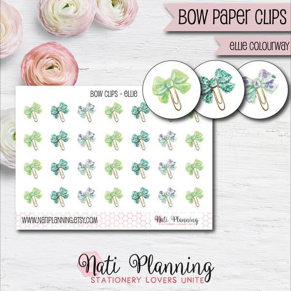 Bow Paper Clip Stickers - Ellie Colourway
