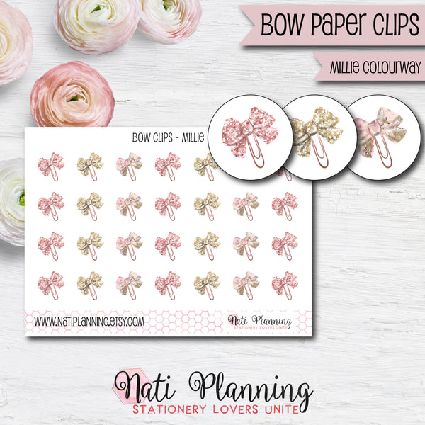Bow Paper Clip Stickers - Millie Colourway