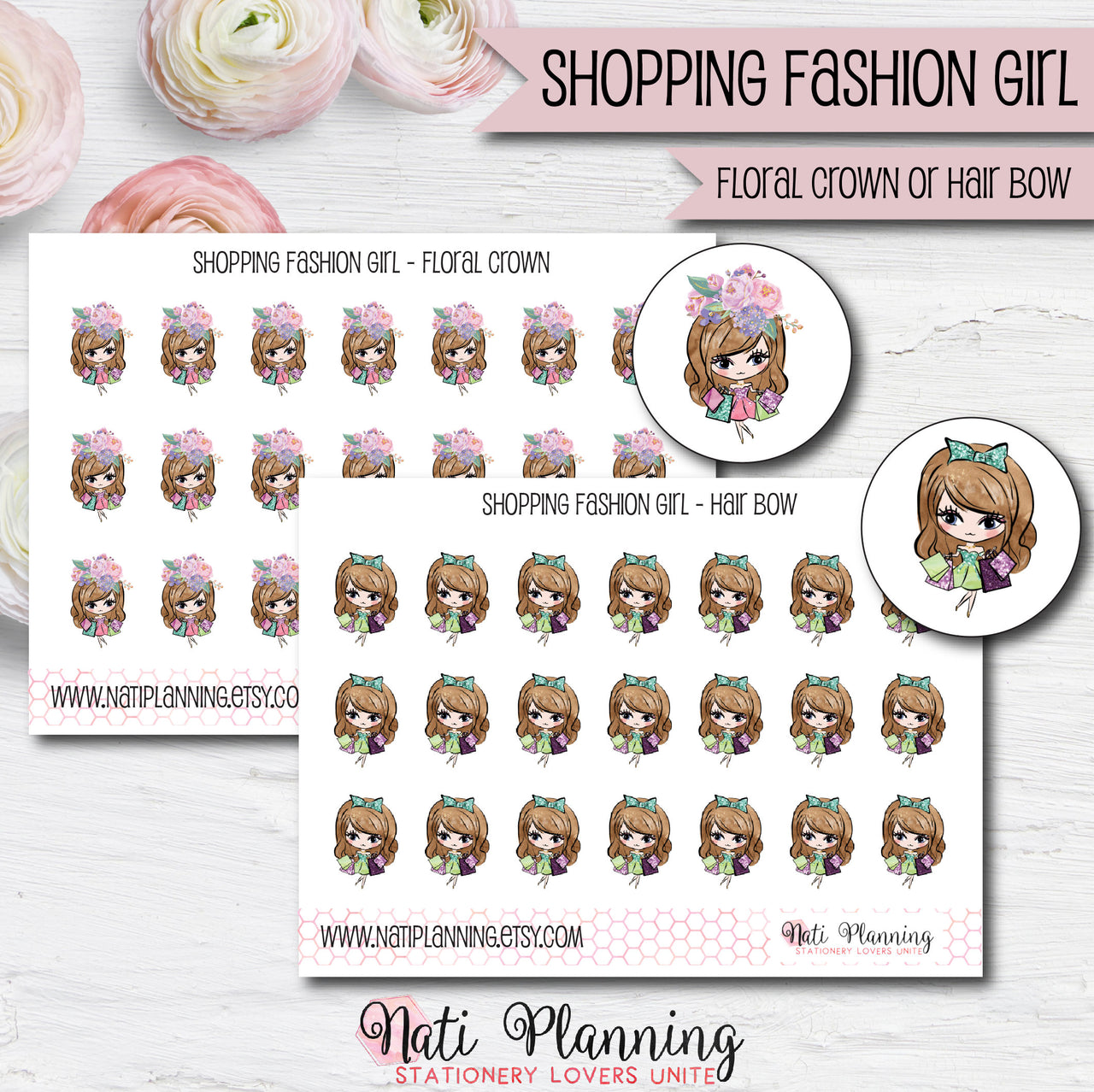 Shopping Fashion Girls Stickers