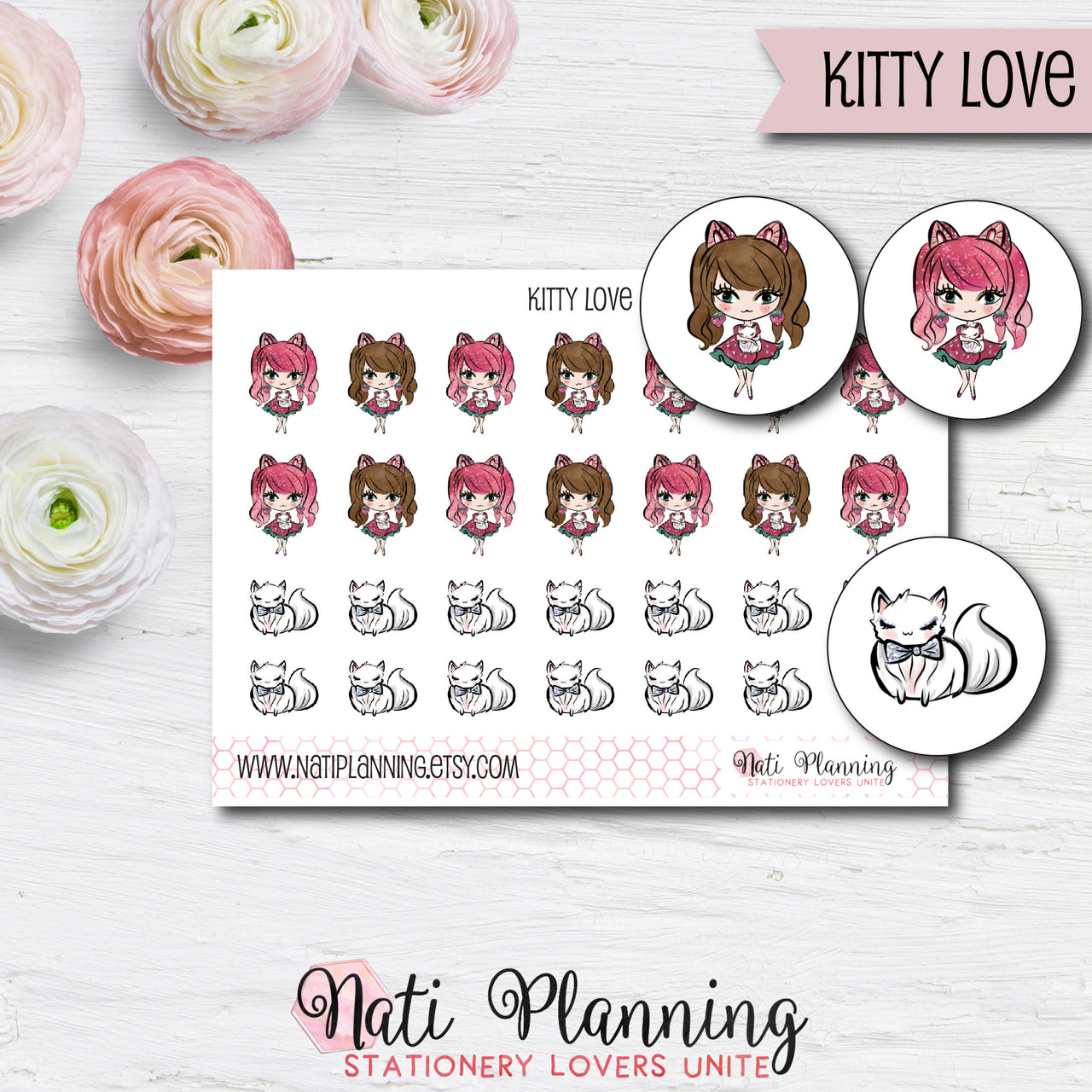 Kitty Love Stickers