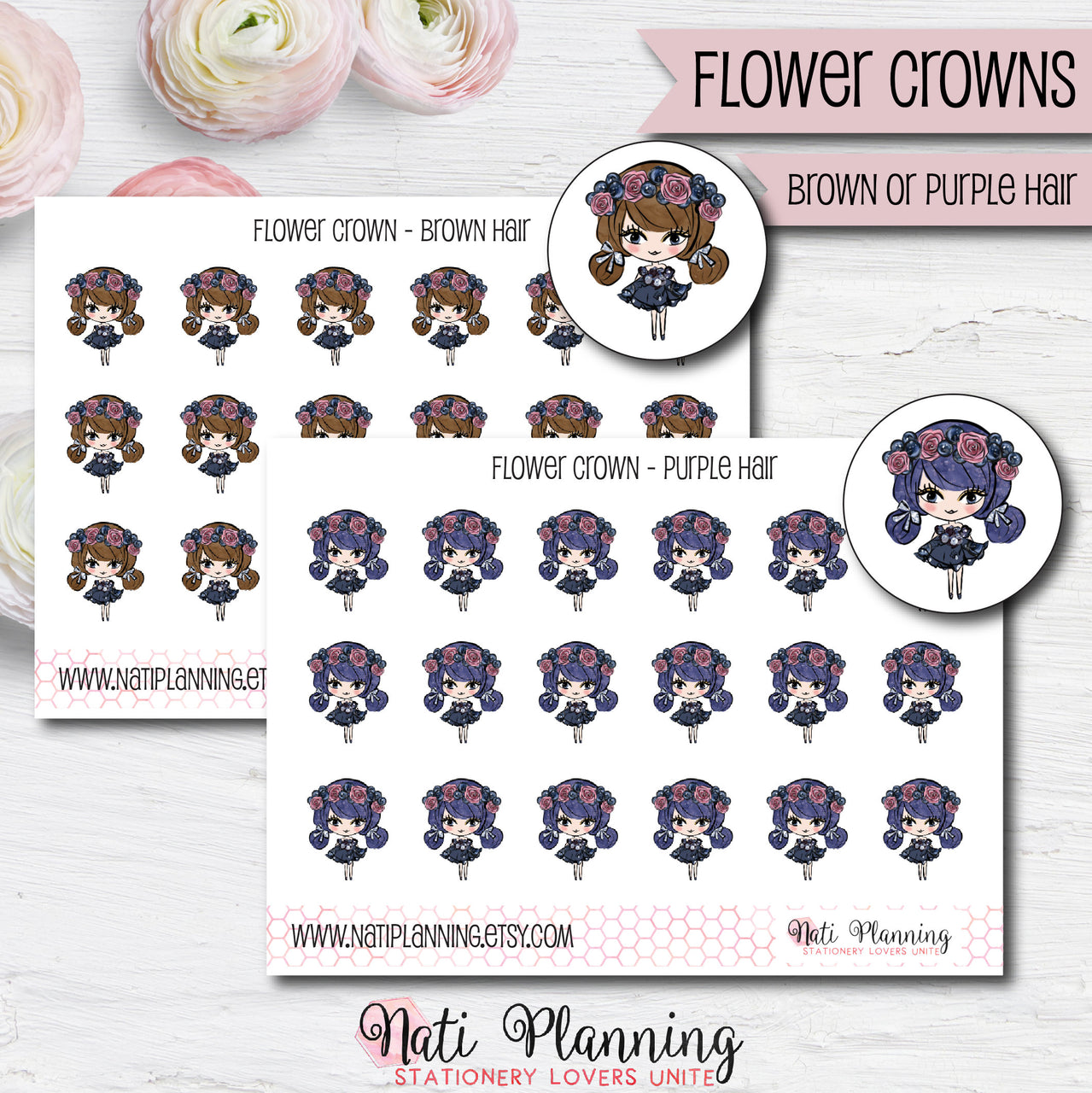 Flower Crown Girl Stickers