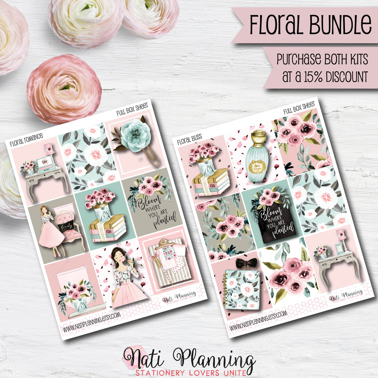 Floral BUNDLE - Weekly VERTICAL Sticker Kits