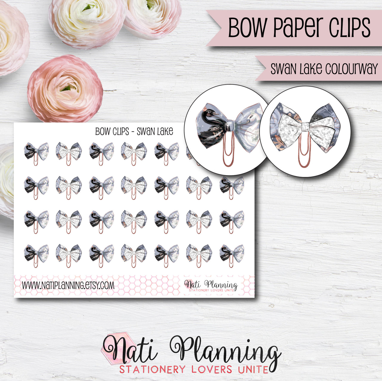 Bow Paper Clip Stickers - Swan Lake Colourway